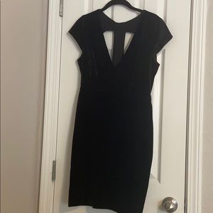 Black Velvet Dress with Back Cut Outs